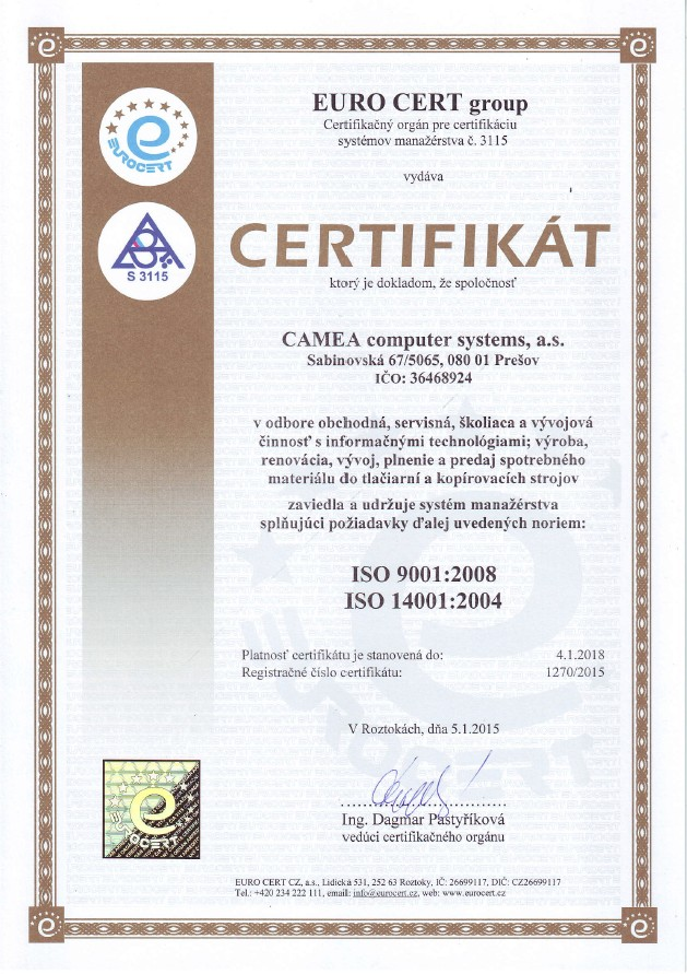 ISO 9001:2008,  14001:2004